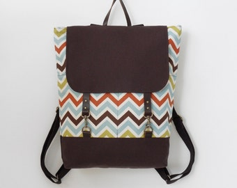 BROWN. Multi color chevron / zigzag  Backpack , laptop bag, diaper bag with leather closure and 2 front pockets, Design by BagyBags