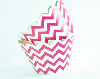 Chevron Cupcake Wrappers, Chevron Cupcake Liners, Hot Pink  Baking Cups, Chevron Cupcake Cups, Weddings, Baby Showers, Birthday Party, 12