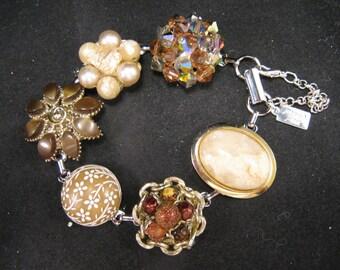 Bridesmaid Gift, Vintage Earring Bracelet, Brown, Chocolate, Beige, Set, Tan, Copper, Flower, Jennifer Jones, Cluster, OOAK - Coffee Garden