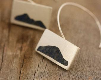 Navy Blue Earrings, Nature Silver Earrings, Silver Dangle Earrings, Lapis Earring, Blue Stone Earrings