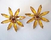 Vintage Rhinestone Earrings - Vintage Rhinestone Flower Earrings