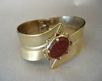 Vintage Gold Stone Hinged Clamper Bracelet