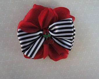 Olivia Paige -Punk rock Rockabilly  Rose  Pin Up Sailor stripes cherries  flower hair clip