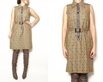 WoozWass Vintage 1960s Japanese Sleeves Brown Floral Dress size S with Belt