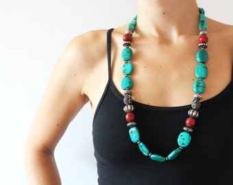 vintage turquoise, silver and red bead necklace