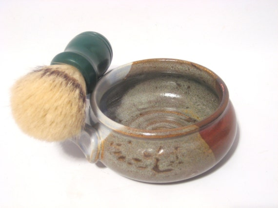 Shaving Mug with Ridges for Good Soap Lather, Comfort Shave - Sky Bue & Rust Brown Earthtones, Handled