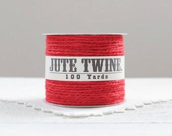 Jute Twine - 100 Yard Spool of Twine, 2-Ply Rustic Craft String Christmas Red