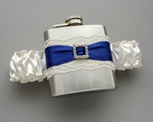 Ivory & Royal Blue FLASK GARTER -- Something Royal Blue for Bride -- Ready to Ship