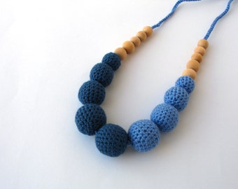 CLEARANCE SALE - Cotton Wooden Nursing Necklace - Crochet Necklace for mom and child - Teething Necklace -  in blue tones