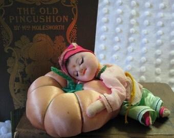 Vintage Sleeping Pixie/ Elf/ Child on Pumpkin/ Pin Cushion/ Pincushion/ Pin Keep