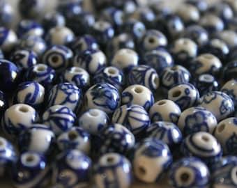Oriental Blue Crockery Beads - Floral Ceramic beads (10)