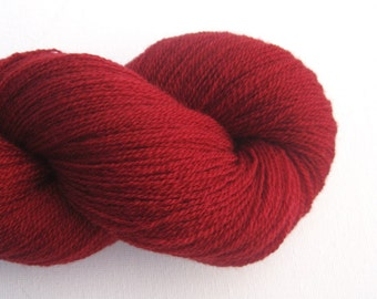 Lace Weight Merino Wool Recycled Yarn, Deep Red, 700 Yards