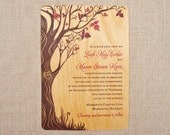 Real Wood Wedding Invitations - Fall Curly Tree Vertical