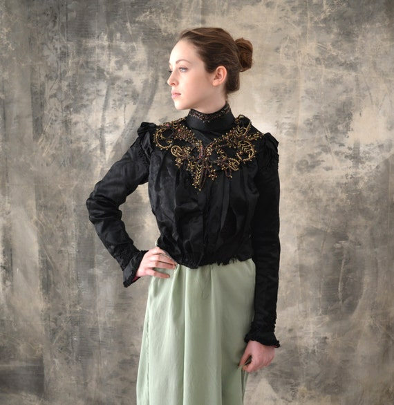 Victorian Blouse Black Beaded