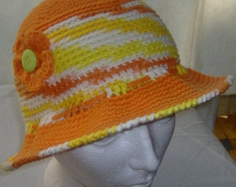 Crochet sun hat with brim for women and teen