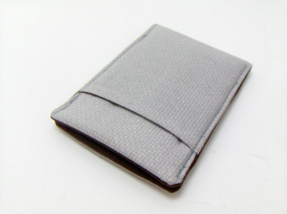Thin Wallet / Pocket Pouch / basketweave gray fabric / for men