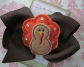 Girl hair clips - thanksgiving hair clips - thanksgiving barrettes - turkey hair clips