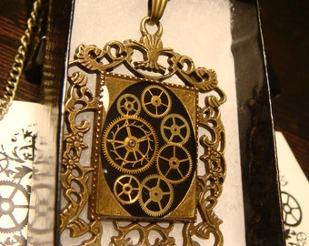 Neo Victorian Style Steampunk Necklace Made With Vintage Watch Part Gears in Ornate Frame (1694)