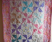 Modern Girl Pinwheel Baby Quilt or Lap Quilt  Kaffe Fassett Pink lilac and turquoise