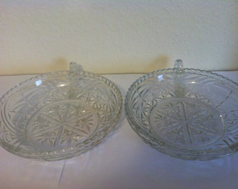 Vintage Pressed Glass Candy/Nut Dishes, with Handle, Set of 2, Anchor Hocking, Clear Pressed Glass
