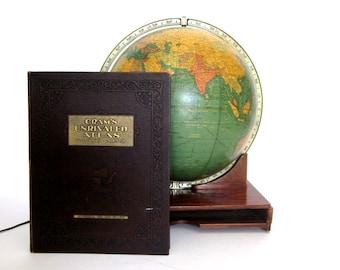 Vintage World Globe c1952 Art Deco Illuminated Glass 16in Crams with Original Unrivaled Atlas