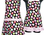 Mother and Daughter Matching set owls aprons  Girls size 4-6-8