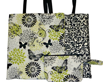 Lime green  grey with butterfly print.  Matching set Reversible tote bag and makeup bag