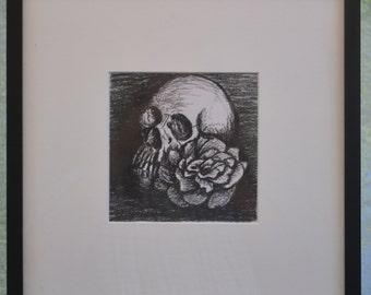 """Original Charcoal Drawing """"Vampire Skull With A Rose"""""""