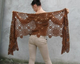Women Accessories Crochet shawl - natural color, brown