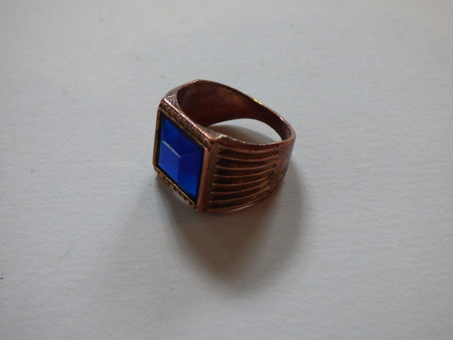 Very old costume ring copper and plastic or glass for Copper to plastic