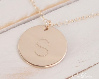 Personalized Gold Disc Necklace - 14k Gold Filled, Handmade, Block Font or NEW Daniela, 5/8ths Disc Choose Initial/Font, Mothers days gift