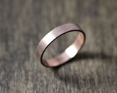 Rose Gold Men's or Women's  Wedding Band, 4mm Flat Recycled 14k Red Gold Wedding Ring Rose Gold Ring -  Made in Your Size