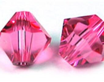 6 mm Swarovski Rose XILION cut  bicone crystal - Quantity 10