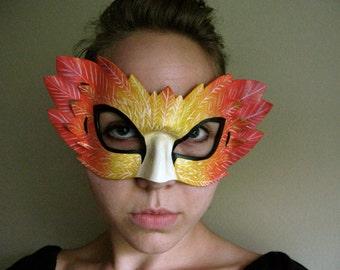 Phoenix Bird Mask - Masquerade Mask - Firebird Mask - Costume - Leather Mask - Art - Autumn Leaves - Fall Colors