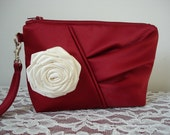Custom Listing- One Bridesmaid Clutch - Red-Ivory  - made to order