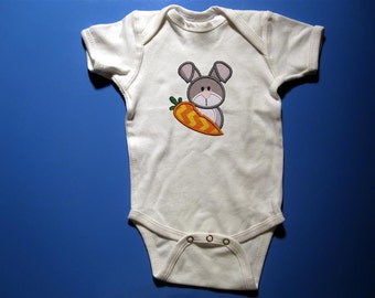 Baby one piece or toddler tshirt - Embroidery and appliqued girls Easter bunny