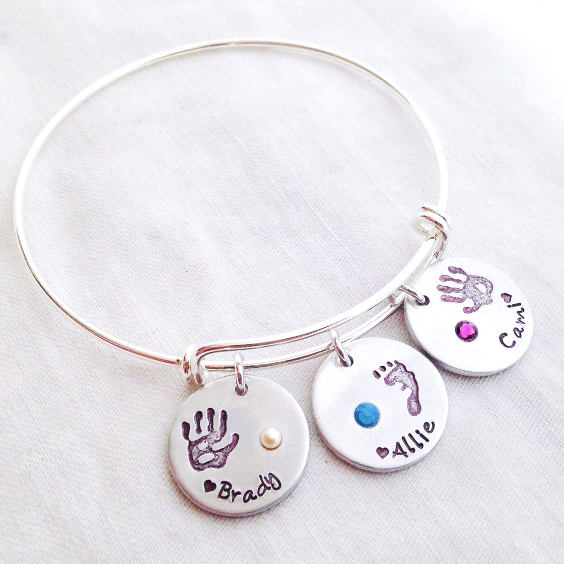 Hand Stamped Expandable Charm Bracelet By FaeriekissageStudio