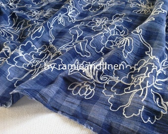 cotton fabric, floral Embroidered on gingham checks cotton blend gauze fabric, half yard by 58""