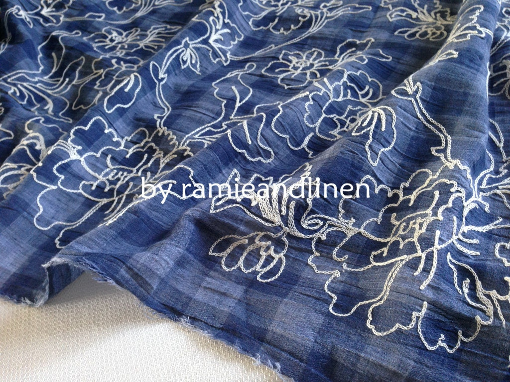 Cotton fabric floral embroidered on gingham checks