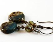 Green Teal Blue Brown Glass Antique Brass Earthy Fall Earrings