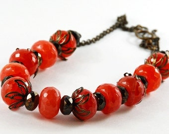 Red Black Antique Brass Agate Glass Necklace Wedding Necklace Summer Necklace