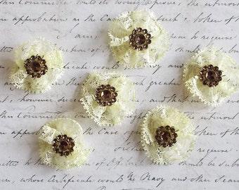 Scrapbooking,  Lace Flowers, Wedding, Cream Lace, Light Lemon