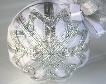 White and Silver Quilted Ornament - White Magic