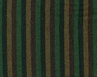 Vintage 1950s Menswear Stripe Fabric Green Brown Black Rayon Blend 2 yards