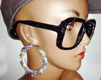 rose gold ray bans 35wa  Fully Customized Cazal Style Glasses made w Swarovski Elements Jet Black