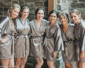 Satin bridesmaid robe, GRAY, bridesmaid dressing gown, personalized robes, silk bridesmaids robes, silk floral robe, kimono dressing gown