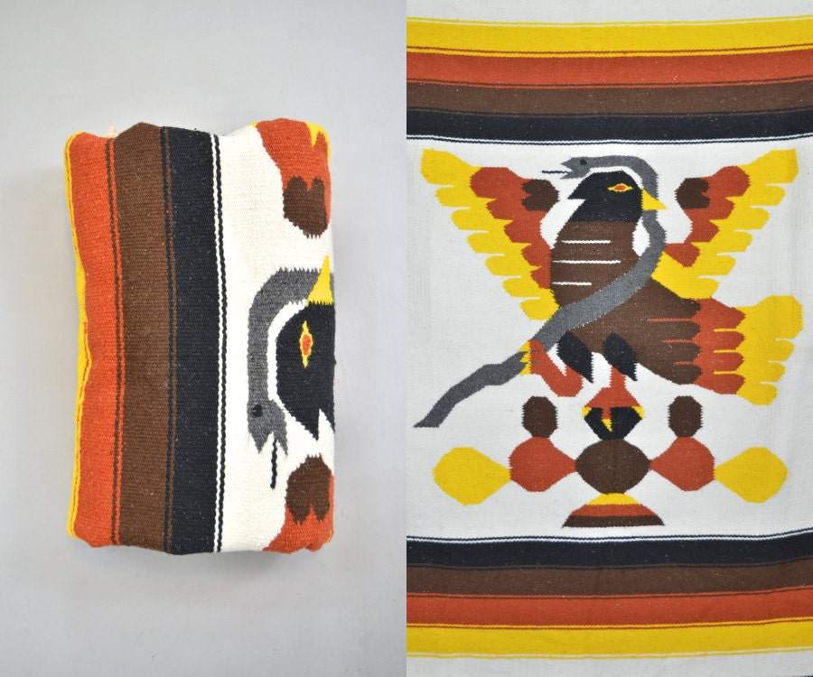 Throw Rug Purpose: Mexican Pictogram Blanket / Rug / Throw 81 X 49