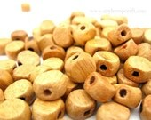 Natural Wood Disc Beads, 100pc Strand 10mm Flat Round Wooden Beads