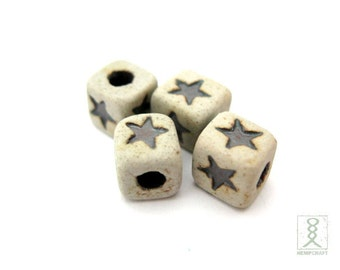 5pc Ceramic Star Cube Beads, Natural Beads, 8mm
