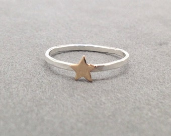 Tiny Gold Star Ring, Tiny Star Ring, Sterling Silver Stacking Rings, Small Star Stacking Ring, Star Stackable Ring, Thin Ring Band